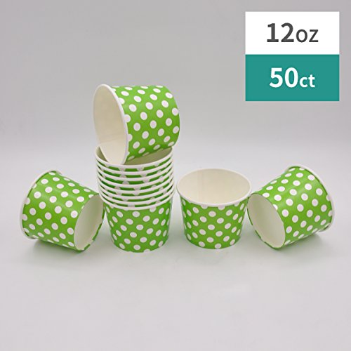 Paper Ice Cream Cups - 12 oz Polka Dot Dessert Bowls - Comes In Many Colors 50 Count (green, 50)