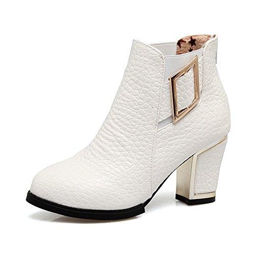 Microfiber Zipper Womens Metal Boots ABL10558 Buckles Ankle BalaMasa White High qFYAB1