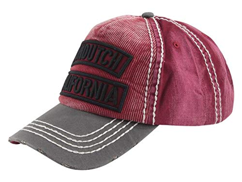 Von Dutch Dad Distressed Baseball Cap Vintage Style Unreconstructed Cotton Adjustable (VDHT264, RED California) ()
