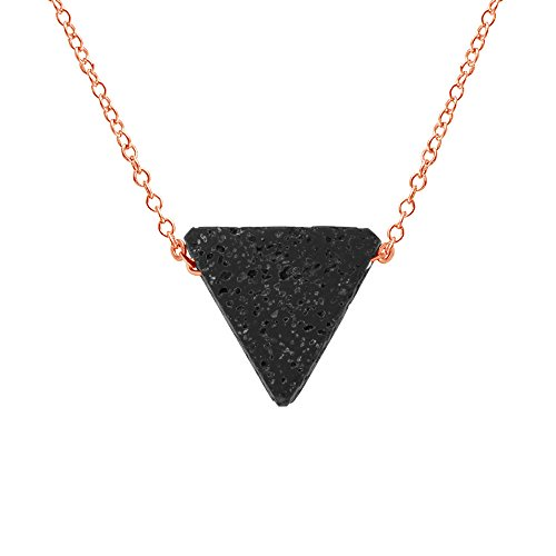 (SENFAI Contracted Triangle Lava-Rock Pendant Stainless Steel Pendant Necklace (Rose Gold))