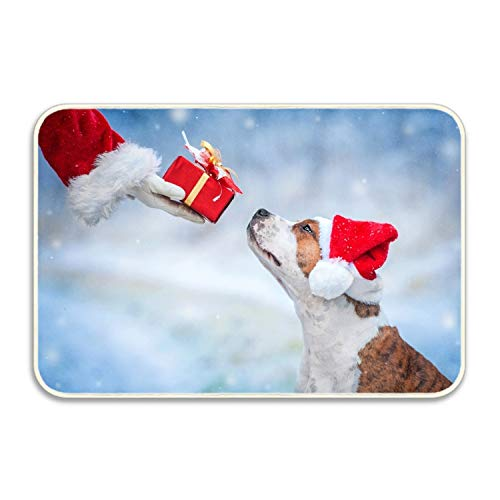 FunnyLife Soft Non-Slip Dog with A Christmas Hat Bath Mat Coral Fleece Area Rug Door Mat Entrance Rug Floor Mats 18x30 inch -
