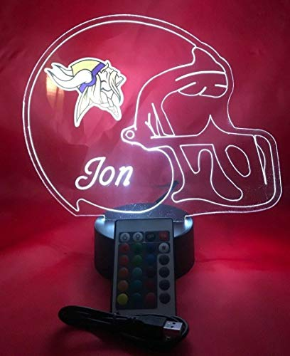 (Minnesota Vikings NFL Light Up Lamp LED Personalized Free Football Light Up Light Lamp LED Table Lamp, Our Newest Feature - It's Wow, with Remote, 16 Color Options, Dimmer, Free Engraved, Great Gift)