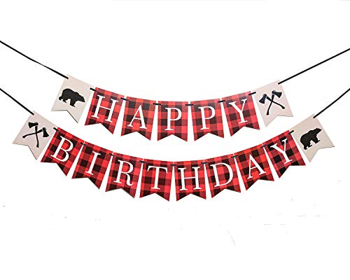 Lumberjack First Birthday Party Banner, Woodland Birthday and Baby Shower Party Decoration