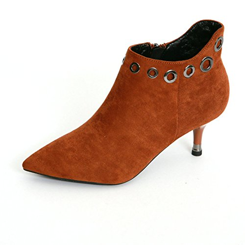 AJUNR-Zapatos De Mujer De Moda Oriente El Talón Botas Cortas Mujer Otoño E Invierno Y Fino Nuevo Guapo Remaches Simple Suede Señaló Martin Botas Y Botas Color Caramelo Thirty-Five Desnuda Thirty-five