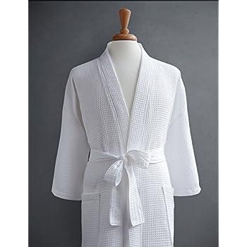 Amazon Com 100 Cotton Waffle Weave Robe Kimono Spa