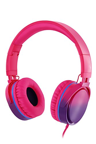 RockPapa Over Ear Stereo Foldabe Headphones Adjustable, Noise Isolating, Heavy Deep Bass, Folding Headsets with Microphone 3.5mm for Smart Phones Tablets Computers MP3/4 DVD Gradient Pink (Rhinestone Headphones)