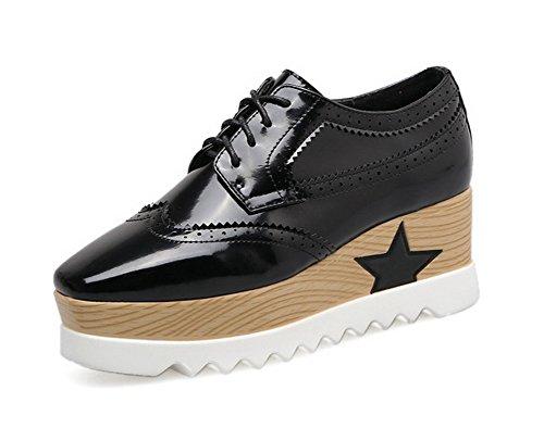 1TO9 Womens Wedges Platform Bandage Urethane Oxfords Shoes Black