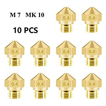 10 Pcs 3D Printer MK10 Extruder Stainless Steel Nozzles M7 Thread 1.75mm