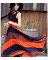 Women's Stylish Irregular Hem Color Splicing Stripe Sleeveless Long Chiffon Dress