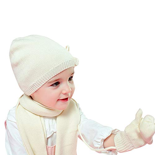 Vivobiniya Baby Hat Scarf Gloves 3pcs/Set Toddler Girl Winter Warm Set