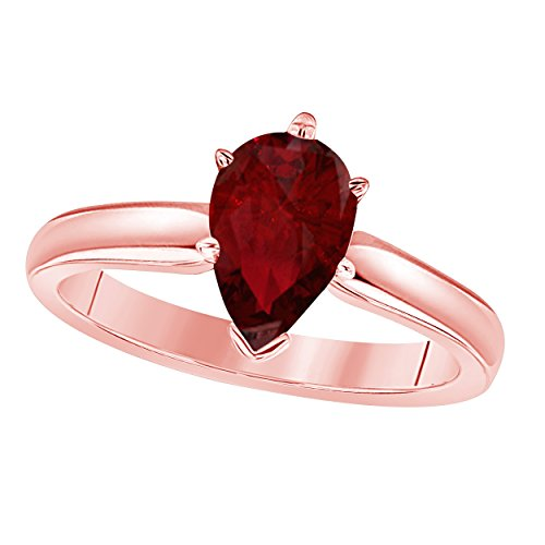 Gems and Jewels 14k Rose Gold Plated Brass Pear Cut Created Ruby CZ Solitaire Engagement Ring 1.75 Carat for Womens