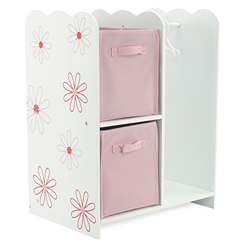18 Inch Doll Furniture | Floral Design Open Wardrobe 18 Inch Doll Closet, Includes 3 Wooden Doll Clothes Hangers | Fits American Girl Doll Clothes