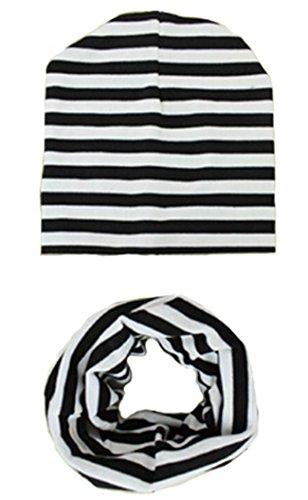 Unisex Baby Kids Stretch Striped Winter Hat Gloves Scarf Set Fashion Caps (Black)