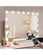 Bobening Makeup Vanity Mirror with Lights 15 Pics LED Light Bulbs with Bluetooth and USB Charging Port (22.8x18.1 inch), Hollywood Lighted Makeup Mirror with Smart Touch Control