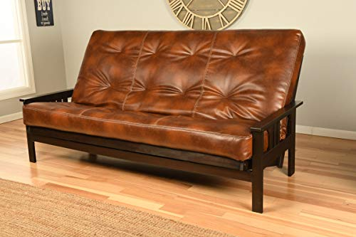 Jerry Sales Montrose Choice of Queen or Full Size Espresso Futon Frame and Leather Mattress Set Hardwood Sofa Bed (Saddle Matt and Frame (No Drawers), Queen Size)