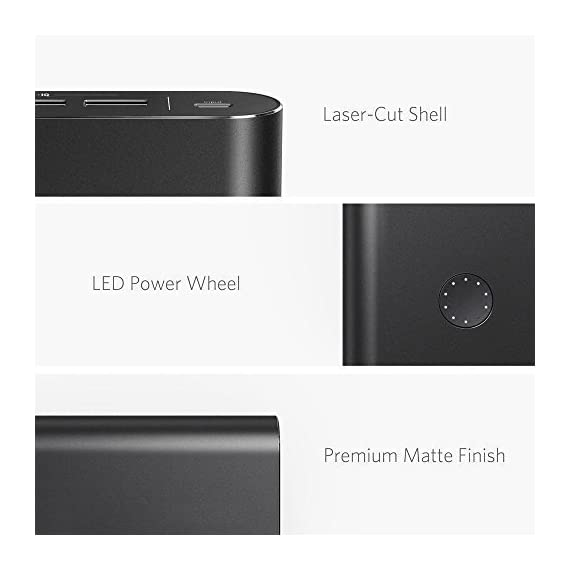 Anker PowerCore+ 26800, Premium Portable Charger, High Capacity 26800mAh External Battery with Qualcomm Quick Charge 3.0… 5 The Anker Advantage: Join the 50 million+ powered by America's leading USB charging brand. Qualcomm Quick Charge 3.0: Using Qualcomm's advanced Quick Charge 3.0 technology, PowerCore+ allows compatible devices to charge 85% faster. Recharges itself 2X as fast with the included wall charger. Fast-Charging Technology: Exclusive to Anker, PowerIQ and VoltageBoost technologies combine to provide universal full speed charging for non-Quick Charge devices, up to 3 amps per port.