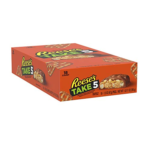 REESE'S & TAKE5 Chocolate, Peanut Butter Candy, 1.5-oz Bars (Pack of 18)