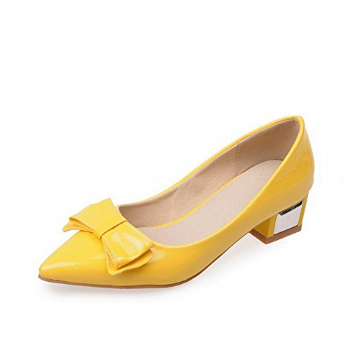 VogueZone009 Women's PU Solid Pull-on Pointed Closed Toe Low-Heels Pumps-Shoes, Yellow, - Shipping Overnight Free Stores With