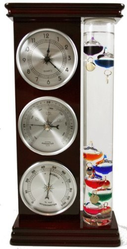 Ambient Weather WS-YG709 Galileo Thermometer, Barometer, Hygrometer and Quartz Clock Weather Station (Silver)
