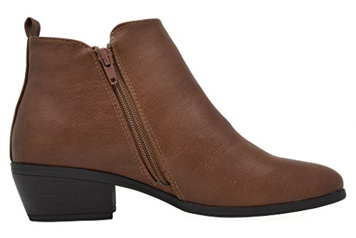 TOETOS Damen Cowboy Blockabsatz Seitlicher Reißverschluss Ankle Booties Brauner Pu