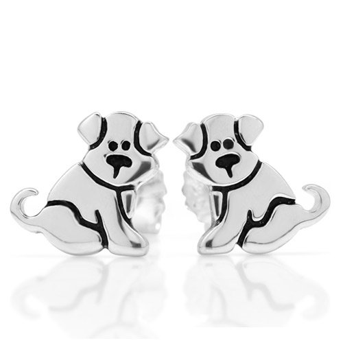 925 Sterling Silver Small Puppy Dog 11 mm Post Stud Earrings