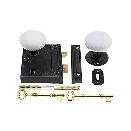 Cast Iron Vertical Rim Lock Set With White Porcelain Door Knobs - Antique Door Lock: Amazon.com
