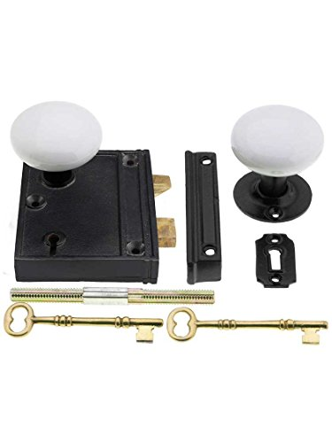 House of Antique Hardware R-01HH-1023V-WHT-MB Cast Iron Vertical Rim Lock Set with White Porcelain Door Knobs in Matte Black ()