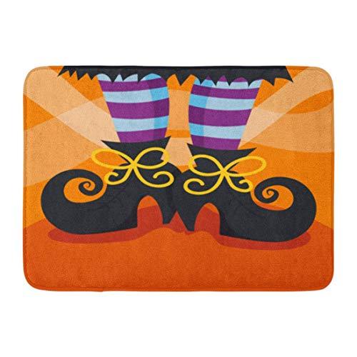 Jugbasee Doormats Bath Rugs Outdoor/Indoor Door Mat Halloween Cartoon of Witch Boots Foot Whimsical Fun Shoes Stocking Bathroom Decor Rug 16