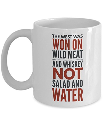 Hunting Mug - The West Was Won On Wild Meat And Whiskey Not Salad And Water Mug - Coffee Cups for Men - Funny Hunting Gifts