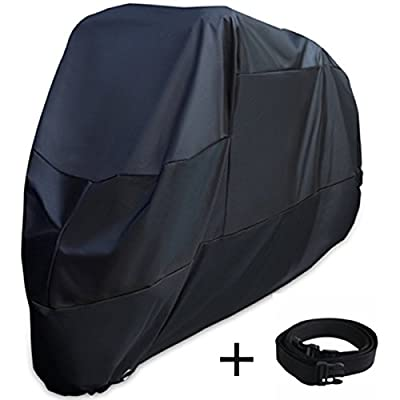 XYZCTEM Motorcycle Cover -Waterproof Outdoor Storage Bag,Made of Heavy Duty Oxford Material Fits up to 116 inch Harley Davison and All motors(Black& Lockholes& Professional Windproof Strap) by XYZCTEM