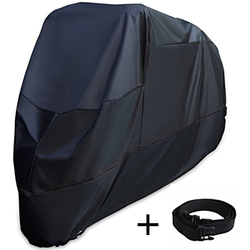 XYZCTEM Motorcycle Cover -Waterproof Outdoor Storage Bag,Made of Heavy Duty Material Fits up to 116 inch, Compatible with Harley Davison and All motors(Black& Lockholes& Professional Windproof Strap)
