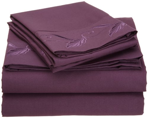 Cathay Home Fashions Luxury Silky Soft Leaf Design Embroidered Microfiber Queen Sheet Set Plum