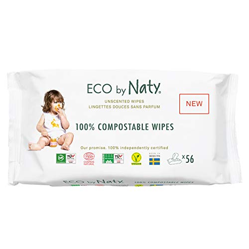 Eco by Naty Unscented Baby Wipes, 672 count (12 packs of 56), Plant based Compostable Wipes, 0% plastic. No nasty…