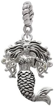 Silvertone Mermaid Rope Charm Bead