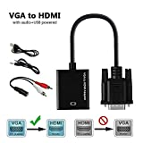 VGA to HDMI Adapter with Audio, TESSIN Male VGA to HDMI Video Converter for Connecting Old PC Laptop with a VGA Output to New Monitor HDTV
