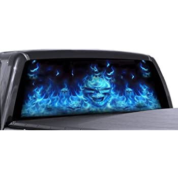 Amazon Com Vuscapes 726 Sza Flaming Blue Skulls Rear