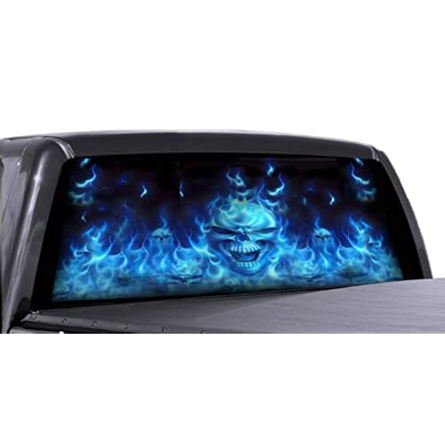 Vuscapes 726 szd flaming blue skulls rear window truck graphic decal suv view thru vinyl