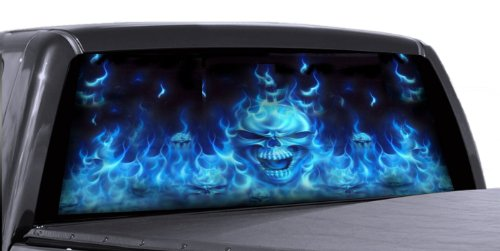 VuScapes - 726-SZD- FLAMING BLUE SKULLS  Rear Window Truck Graphic - decal suv view thru vinyl (Graphics Window Rear Truck)