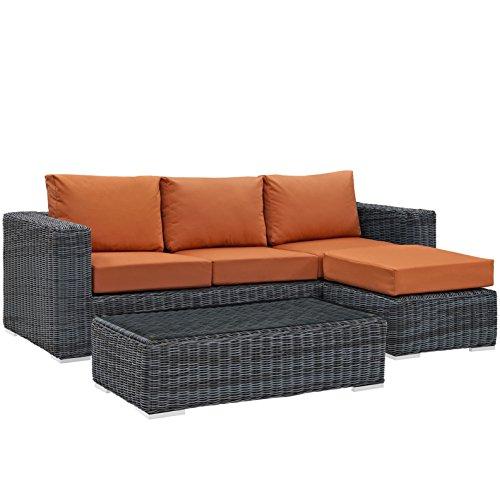 Italian Design Fabric Sectional Sofa (Modern Contemporary Urban Design Living Lounge Room Sectional Sofa Set, Orange, Rattan)