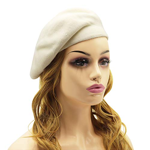 French Beret Hat,Reversible Solid Color Cashmere Beret Cap for Womens Girls Lady Adults (White) ()