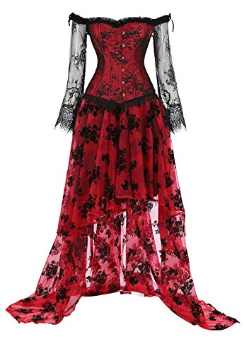 Corsets for Women's Princess Renaissance Corset Lace Ruched Sleeves Overbust Top Printing Bustier Suits Medium Red Dress