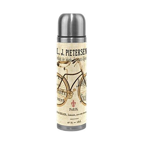 Jstel Vélo en acier inoxydable Gourde thermos anti-fuites double Bouteille Vide pour café chaud ou froid à thé + Boisson Tasse Top 500ml