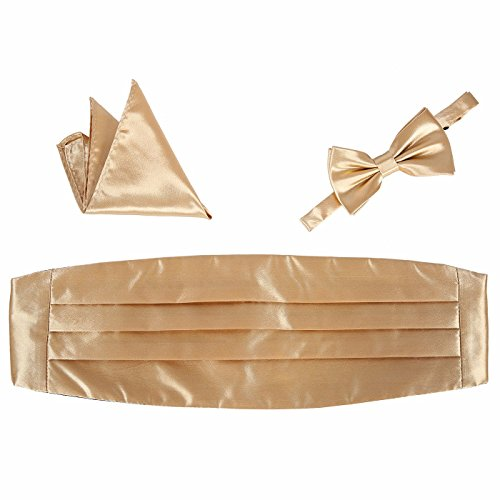 HDE Tuxedo Set Men's Formal Satin Blend Bow Tie, Cummerbund, and Pocket Square (Cummerbund Sets)