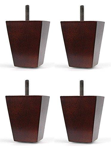 "Elegent Upholstery 4 1/2"" Walnut Dark Wood Tapered Sofa/Chair/Ottoman Legs [5/16"" Bolt] - Set of 4"