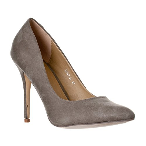 Riverberry Women's Gaby Pointed Closed Toe Stiletto Pump Heels, Grey Suede, 7 - Grey Suede Print