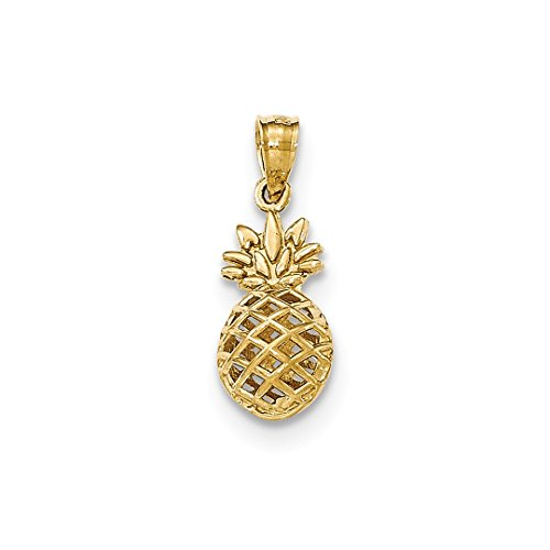 ICE CARATS 14kt Yellow Gold 3d Pineapple Pendant Charm Necklace Food Drink Fine Jewelry Ideal Gifts For Women Gift Set From Heart