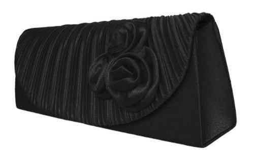 DIVA-MODE Elegante borsa da sera Clutch, 28x 10cm, Nero