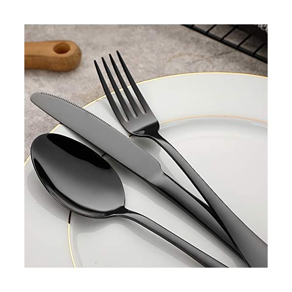 Black Silverware, Devico 20-Piece Stainless Steel Metal Flatware Utensils Cutlery set for 4, Mirror Polished, Dishwasher… 5