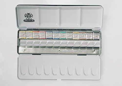 Schmincke Horadam Aquarell Half-Pan Paint Metal Set with 12 Open Spaces, Set of 12 Colors - Pigment Schmincke