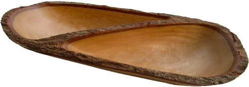 RoRo Natural Sustainable Mango Wood Divided Tray with Bark Edges, 17